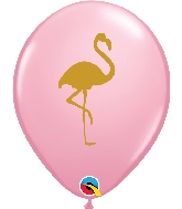 "11"" Golden Flamingo Latex Balloon 50 Count Pink"