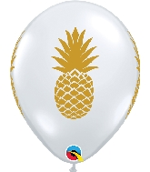 "11"" Golden Pineapple Latex Balloons Diamond Clear"