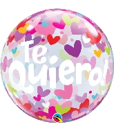 "22"" Te Quiero Colorful Hearts Bubble Balloon"
