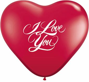 "11"" I Love You Script Ruby Red (50 ct.)"
