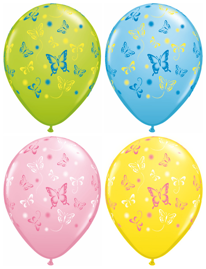 "11"" 50 Count Assorted Latex Balloons Butterflies"
