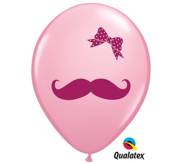 "11"" Mustache with Bow Baby Pink (50 ct.)"