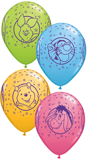 "11"" Assorted Latex Balloons Pooh Characters (25 Count)"