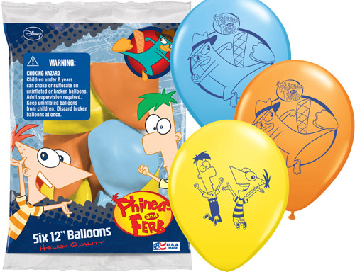 "12"" Phineas and Ferb 6 pack Latex Balloons"