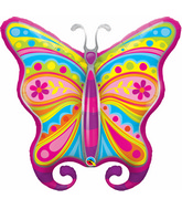 "40"" Paisley Butterfly Jumbo Packaged Mylar Balloon"