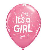 "11"" It�s A Girl Rattle  Rose (50 ct.)"