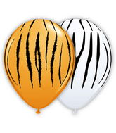 "11"" Zebra & Tiger Stripes Assorted Orange & White (50 ct.)"
