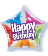 "22"" Birthday Stars and Dot Patterns Plastic Bubble Balloons"