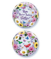"22"" Feel Better Butterfly Garden Plastic Bubble Balloons"