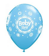 "11"" Baby Boy Dots Latex Balloons (50 ct.)"