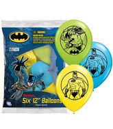 "12"" Batman 6 pack Latex Balloons"