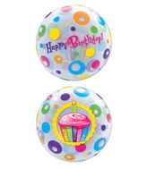 "22"" Birthday Cupcake & Dots Plastic Bubble Balloons"