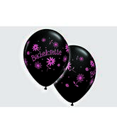"11"" Bachelorette Daisies Onyx Black w/Pink Ink (50 ct.)"
