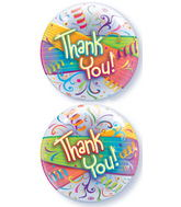 "22"" Thank You Streamers Plastic Bubble Balloons"
