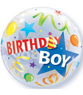 "22"" Birthday Boy Party Hat Plastic Bubble Balloons"