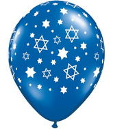 "11"" Star of David Balloons Blue (50 Count)"