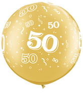 "30"" 50 All Around Gold Latex Balloons (2 Count)"