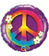 "18"" Peace Sign & Daisies Packaged Mylar Balloon"