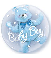 "24"" Baby Blue Bear Plastic Bubble Balloons"