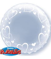"24"" Deco Bubble � Stylish Hearts Plastic Balloon"