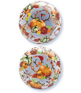 "22"" Autumn Floral & Pumpkins Plastic Bubble Balloons"