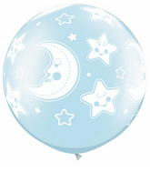 "30"" Baby Moon & Stars Pearl Light Blue (2 ct.)"