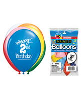 "11"" Happy 2nd Birthday Assorted  5 count Latex Balloons"