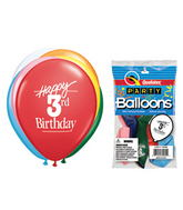 "11"" Happy 3rd Birthday Assorted  5 count Latex Balloons"