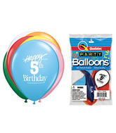 "11"" Happy 5th Birthday Assorted  5 count Latex Balloons"