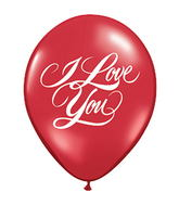 "11"" I Love You Script Ruby Red 5 count Latex Balloons"