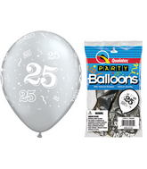 "11"" 25-A-Round Silver 5 count Latex Balloons Packaged"