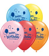 "11"" Happy Happy Birthday Balloons  5 count Latex Balloons"