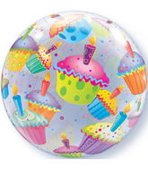 "22"" Cupcakes Plastic Bubble Balloons"