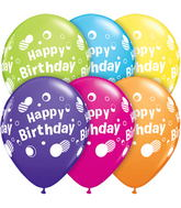 "11"" Happy Birthday Polka Dots Tropical Assortment 5 count"