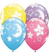 "11"" Baby Moon & Stars Assorted 5 count packaged"