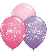 "11"" Princess Assorted 5 count Latex Balloons Packaged"