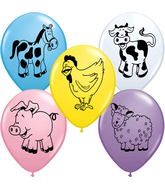 "11"" Farm Animal  Assorted (2-Sided) 5 count Balloons"