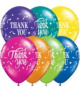 "11"" Thank You Confetti Fantasy Assortment 5 count packaged"