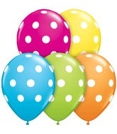 "11"" Big Polka Dots Tropical Assortment 5 count Balloons"