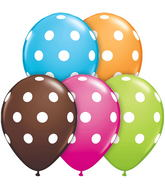 "11"" Big Polka Dots Assorted  5 count Latex Balloons"