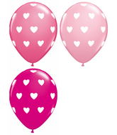 "11"" Big Hearts Assorted 5 count Latex Balloons"