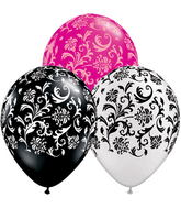 "11"" Damask Print Assorted  5 count Latex Balloons"