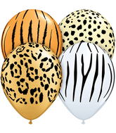 "11"" Safari Assortment Assorted  5 count Latex Balloons"