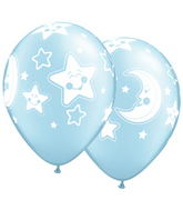 "11"" Baby Moon & Stars Pearl Light Blue (50 ct.)"