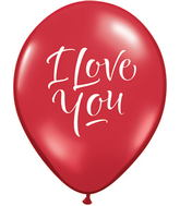 "11"" I Love You Script Modern Ruby Red (50 ct.) (Round)"