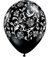 "11"" Damask Print Onyx Black (50 ct.)"