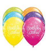 "11"" Birthday Wishes Dots Tropical Assortment (50 ct.)"