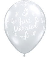 "11"" Just Married Butterflies Diamond Clear (50 ct.)"