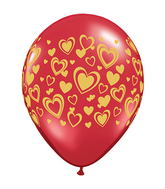 "11"" Double Hearts Ruby Red w/Gold Ink (50 ct.)"
