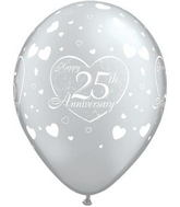 "11"" Little Hearts  Silver 25 Anniversary (50 ct.)"
